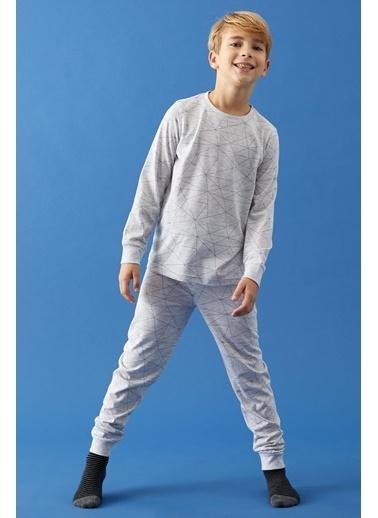 Defacto –Fit Erkek Çocuk Baskılı Pijama Takımı Gri